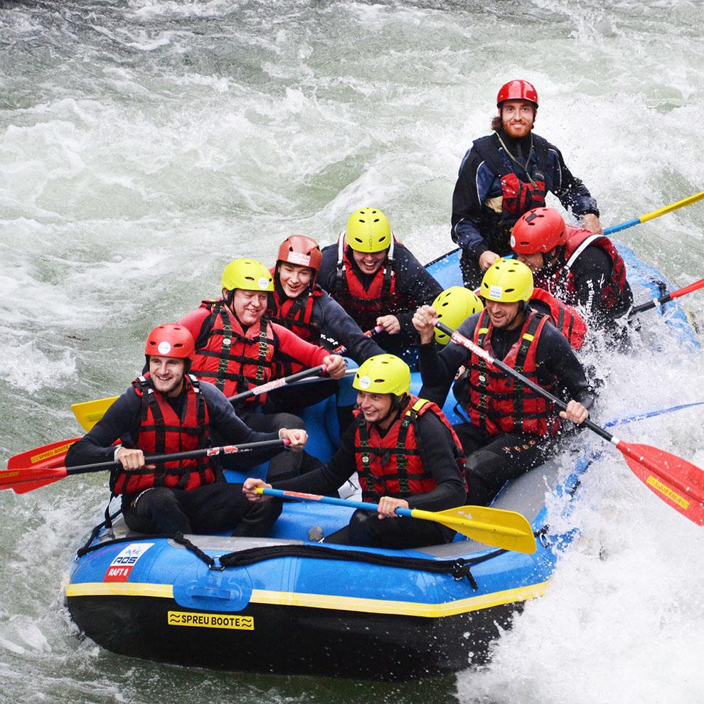 Rafting-Ausflug mit den Mitarbeitern von Strommer Installateur, St. Johann, Voitsberg, Graz
